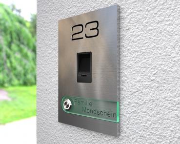 """Moderne Edelstahlklingel mit integriertem Fingerscan inkl. Namen-& Hausnummergravur """"Scan Fashion"""""""